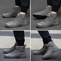 2017 Spring Fashion  Ankle Boots High-Top MilitaryComfortable Leather Mens Shoe Martin Boots Men Shoes Vice Versa Male Bota