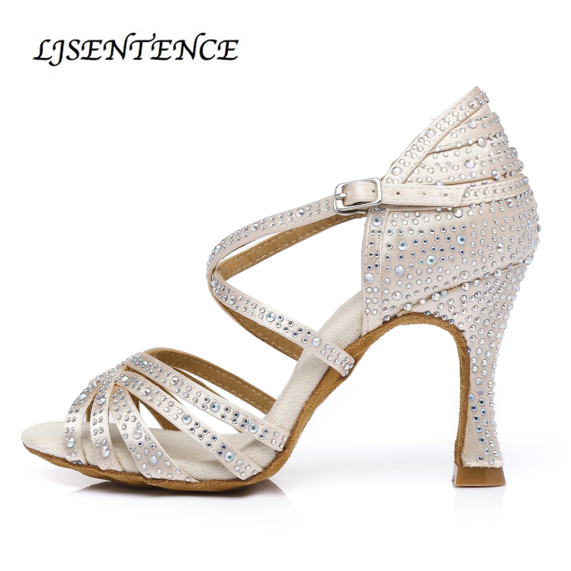 Salsa Women Latin Dance Shoes  Salon Girls Tango Ballroom Dance Footware High Heels 10cm Soft Rhinestone Social Dancing Sandals