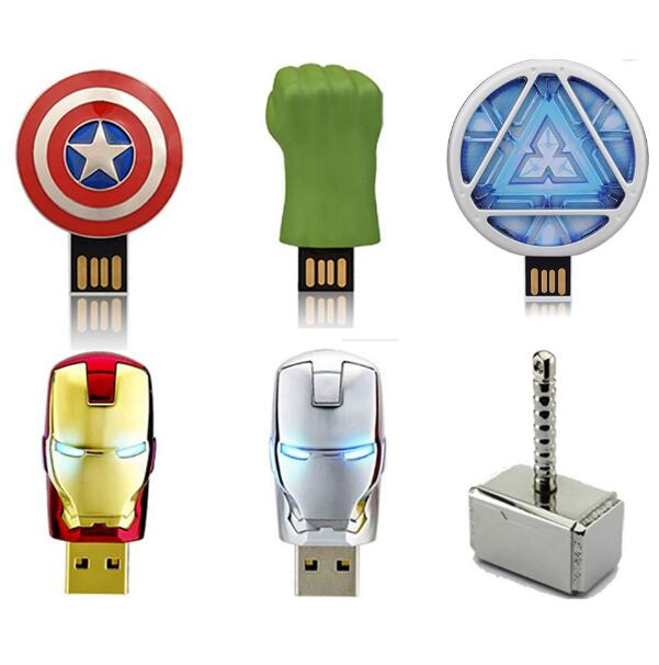 Image 2 - Hot super Avengers USB 2.0 Flash Drive Pen Drive Iron Man America Captain Hammer Hulk USB Flash Memory Stick 8GB 16GB 32GB 64GB-in USB Flash Drives from Computer & Office