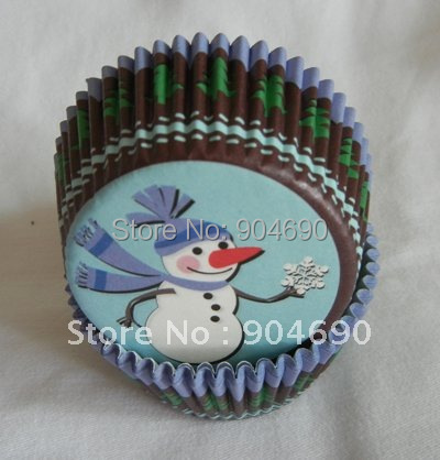 1000pcs adorable snowman blue Cupcake Cake liner baking Paper Cup muffin case