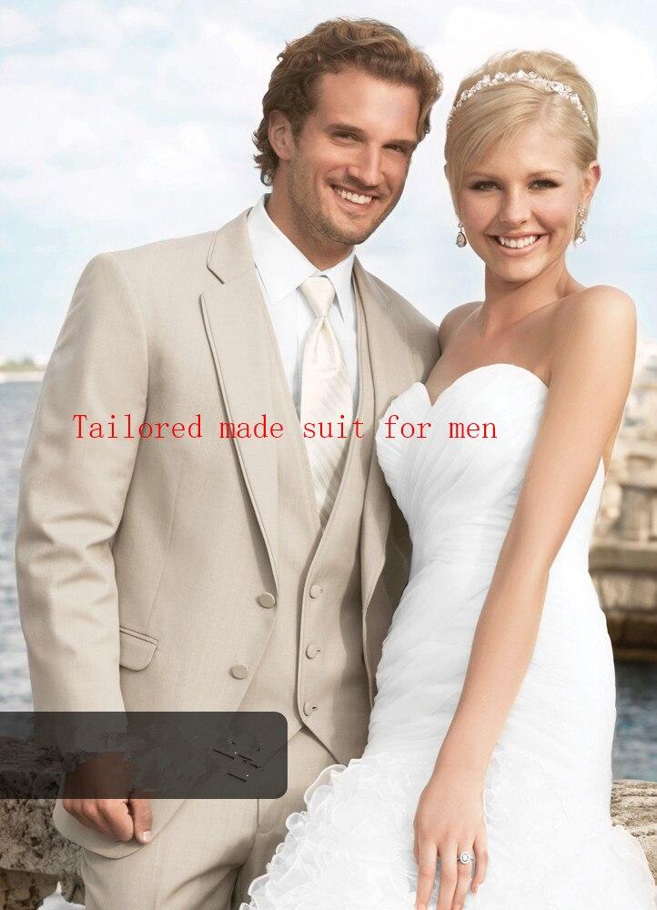 2017 Latest Coat Pant Design Grey Tuxedo Wedding Suits Slim Fit Skinny 3 Piece Custom Men