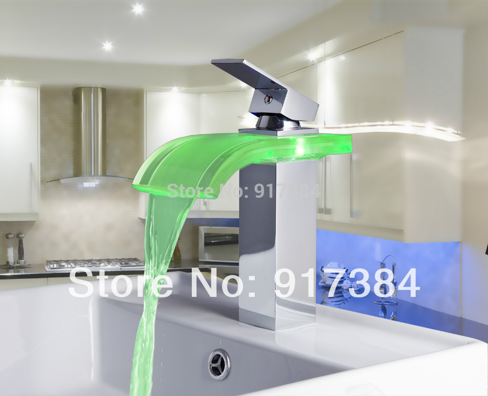 New Brand Unique Chrome LED Waterfall Glass Bathroom Sink Basin Single Handle M-008 Mixer Tap Faucet  кольцо brand new r 008