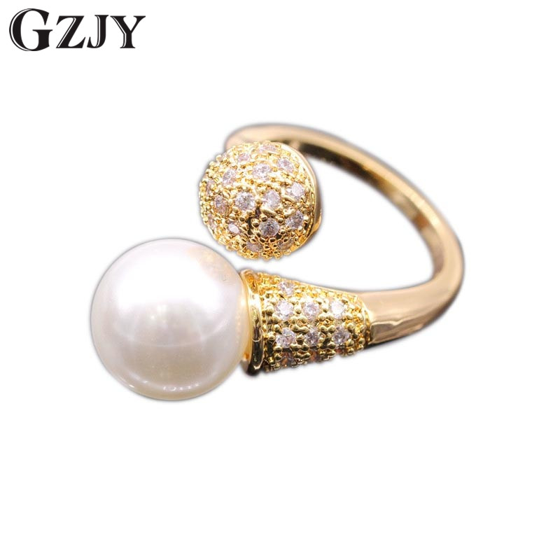 GZJY Cantik Warna Champagne Emas Dibuat Mutiara Putih Zircon Wedding - Perhiasan fashion - Foto 1