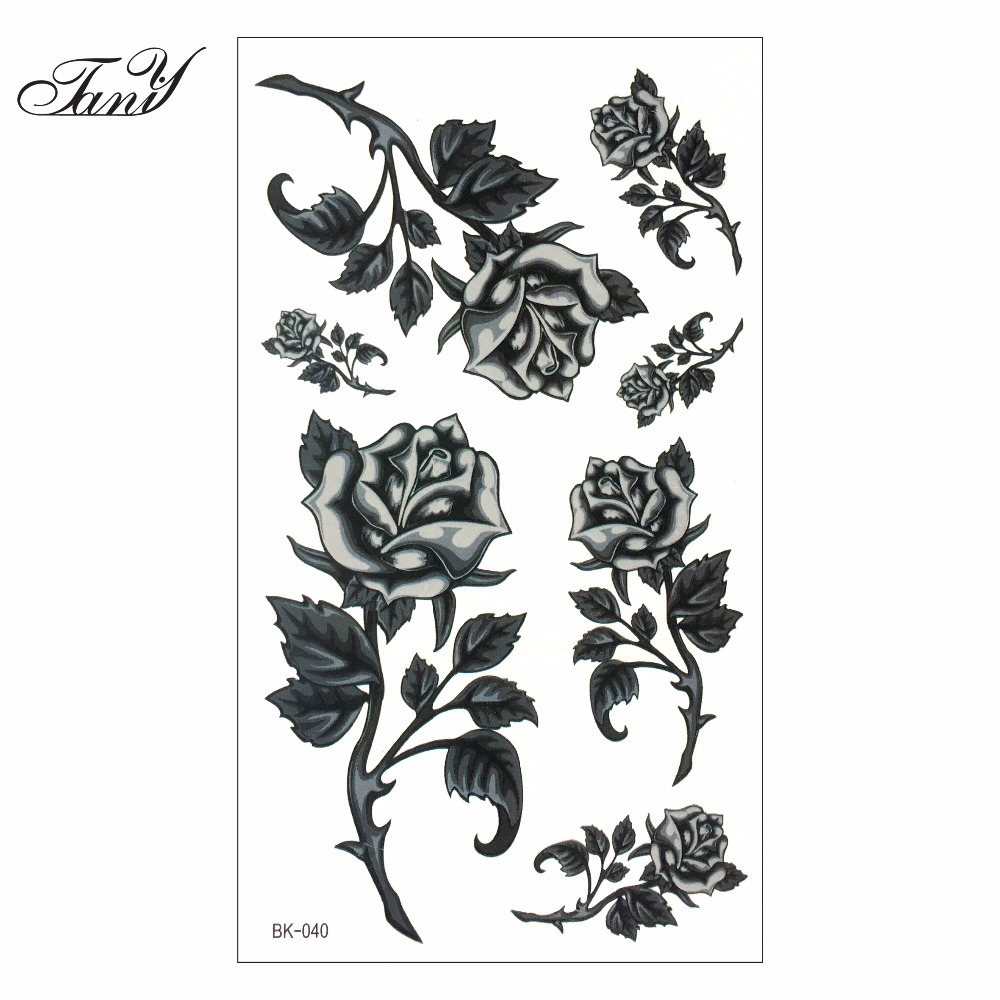 Women Sexy Finger Flash Fake Tattoo Stickers Black White Flowers