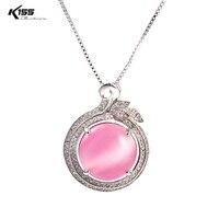 K155 Bleu Rose Blanc Ronde Opale Pendentif Collier Femmes Argent Or Rose Couleur Boîte Chaîne Ras du cou pour Femmes Fille bijoux