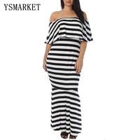 Gosopin Fashion Summer Striped Ruffle Tube Plus Size Maxi Dress Vestido Listrado LC61311 Sexy Ladies Mermaid Party Dresses E6131