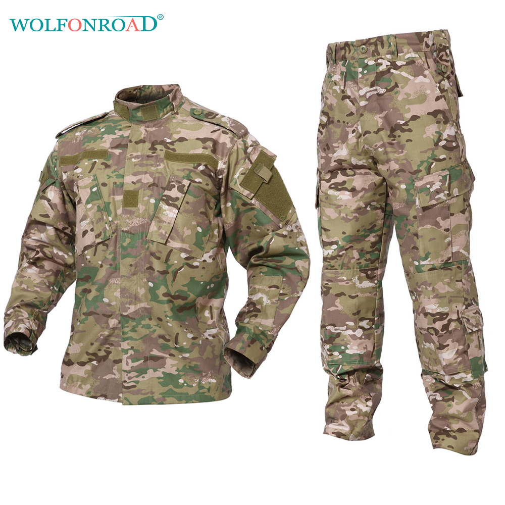 WOLFONROAD CP & ACU Outdoor Camouflage Army Uniform Tactical Military Uniform Combat Hunting Suit BDU Training Jacket and Pant outdoor men s camouflage combat tactical jacket set men military uniform combat ghillie suit army hunting hiking training suit