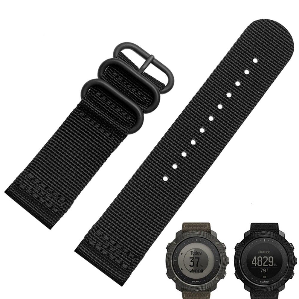 Inteligente pulseira 24mm para suunto qualidade faixa de relógio de nylon nato 3 anel de atravessar cinta com fivela de aço