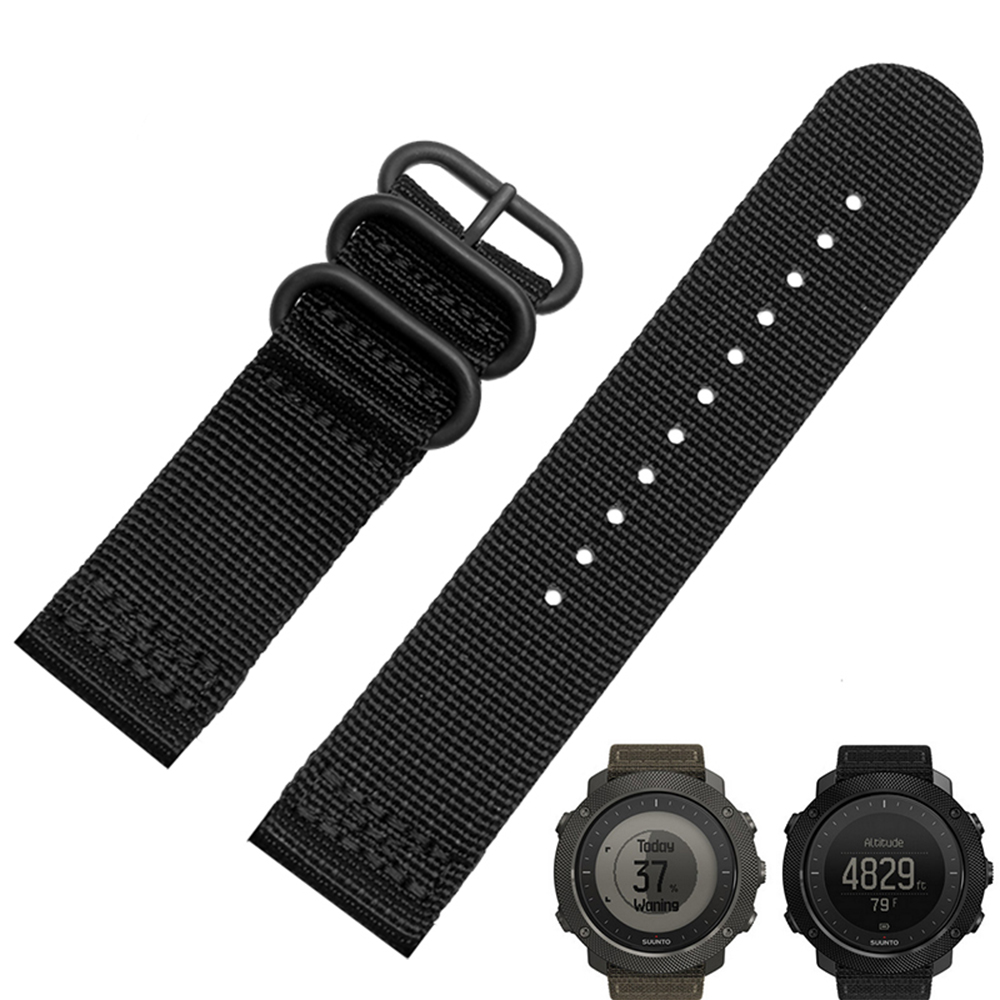 Smart Watchband 24mm For Suunto TRAVERSE Quality Nato Nylon Watch band 3 Ring Strap With Steel Buckle for suunto essential high quality milan stainless steel watchband 24mm two types watch strap for suunto core traverse bracelet