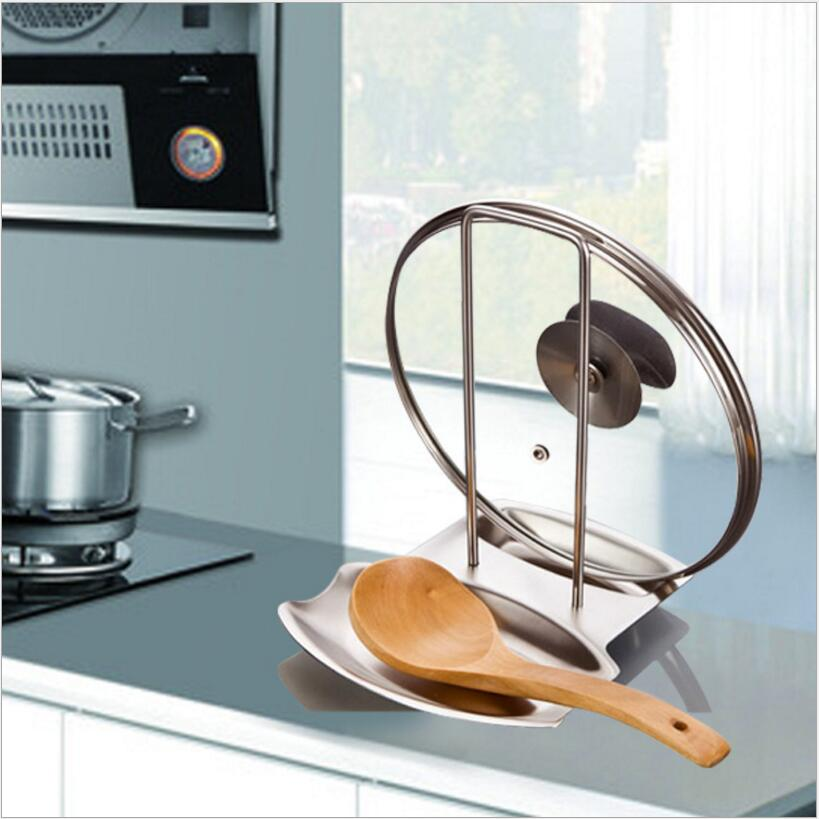 Kitchen Storage Rack Stainless Steel Pot Lid Shelf Organizer Pan Cover Lid Rack Stand Sponge Spoon Holder Dish Rack Kitchen Tool