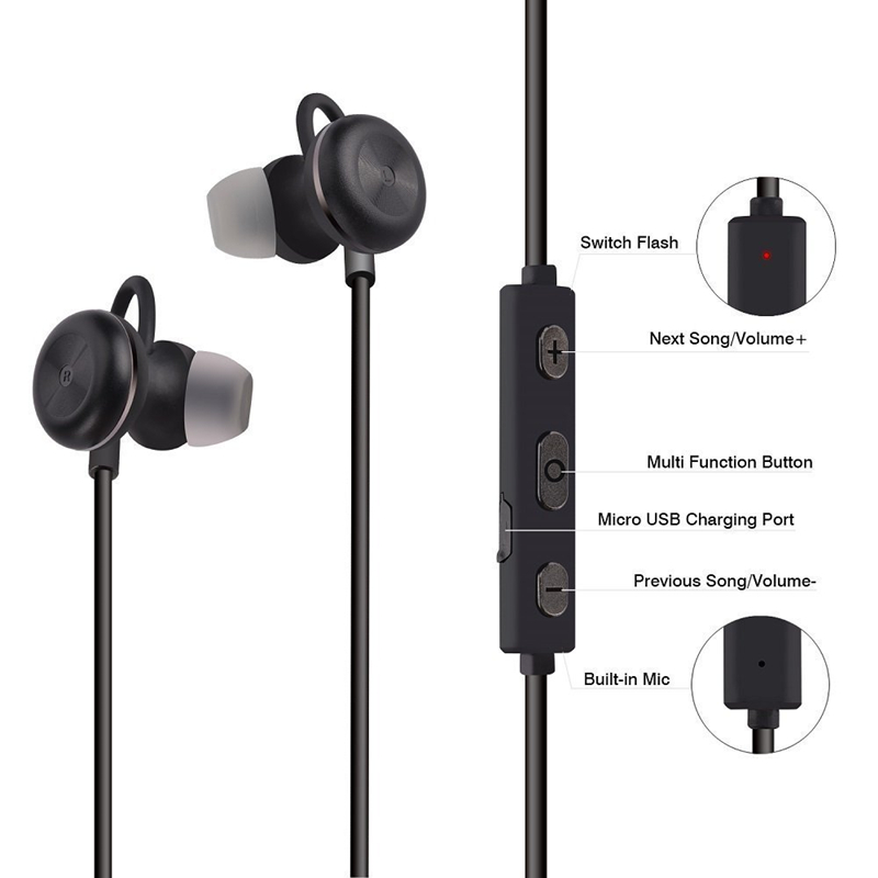Noise Cancelling Bluetooth Headset Sports Wireless Handsfree Earphones Voice Command Sweatproof Bluetooth Earphones with Mic
