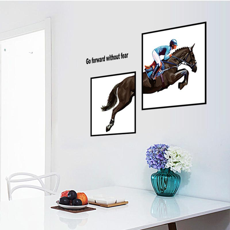 Removable Home Art PVC Horse Riding Photo Frame Wall Stickers Living Room  Bedroom Background Wallpaper Hot Part 33
