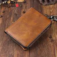 AETOO Handmade leather wallet men short paragraph youth personalized men's wallet multi purpose leather wallet vertical section