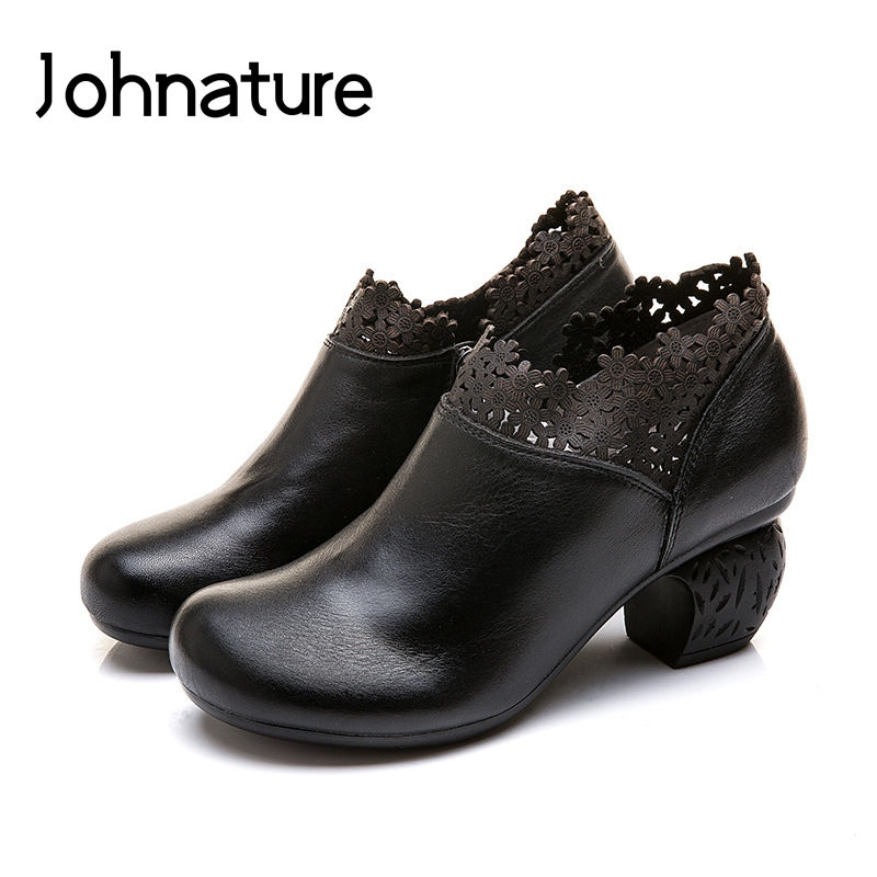 Johnature 2019 New Spring autumn Genuine Leather Round Toe Hoof Heels Casual Comfortable Soft Sole Lady