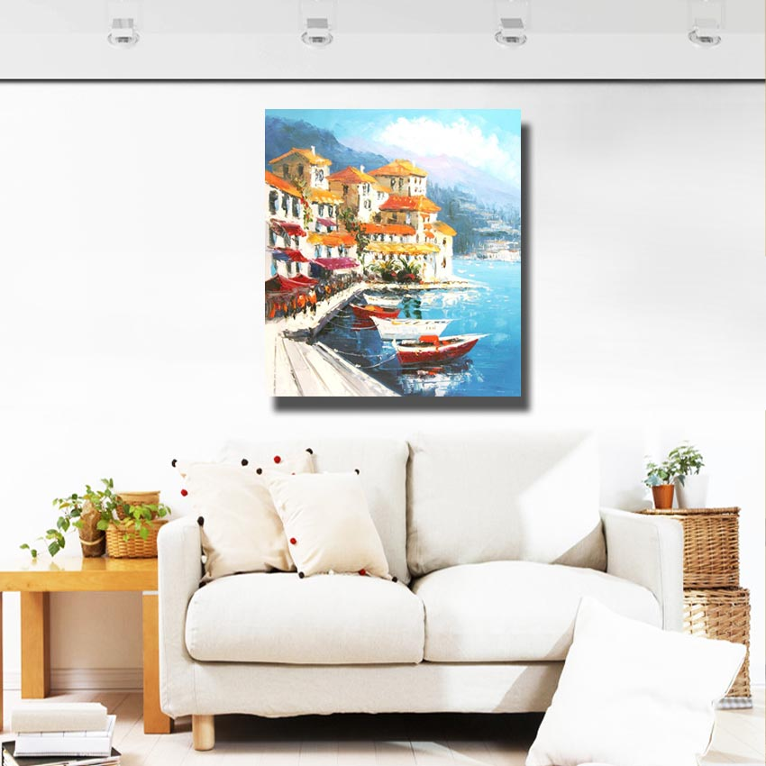 Hot Sale Beautiful Sealandscape Modern Home Decoration Living Room Wall Decor Handpainted Large Canvas Art No Framed In Painting Calligraphy From