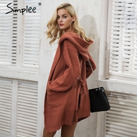 Simplee Hooded Knitting Long Cardigan Sweater Women Jumper Back Lace Up Red Sweater Female 2017 Warm
