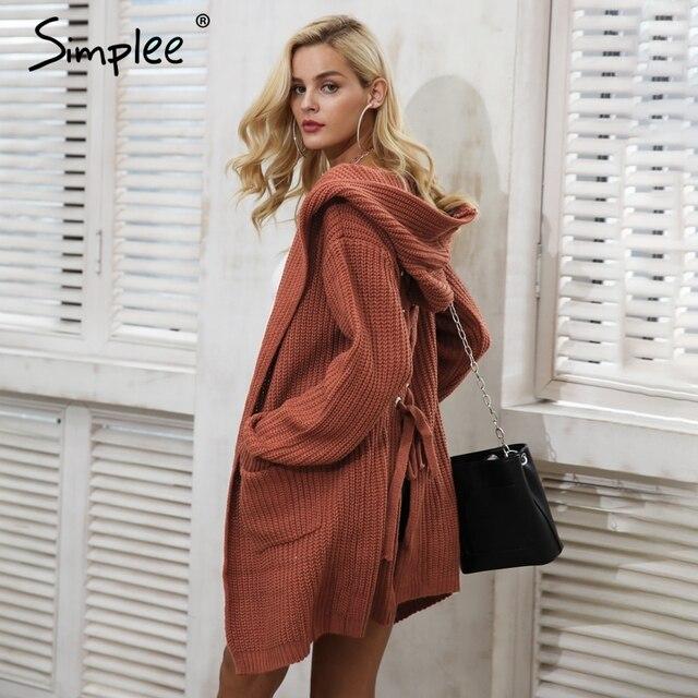 Simplee с капюшоном Вязание длинный свитер Для женщин Джемпер сзади на шнуровке свитер женский пальто 2017 теплая вязаная верхняя одежда с карманами