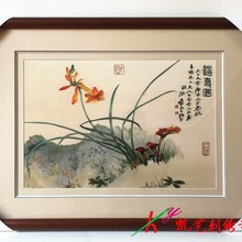 Suzhou embroidery fine orchid hand-embroidered hanging painting for sitting room and office