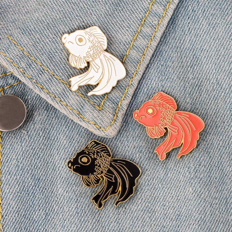 3 цвета Золотая рыбка эмаль брошь джинсовая одежда сумка значок на лацкан Знак мультфильм животных Ювелирные изделия подарок для друзей дети