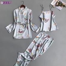 נשים פיג מה סטי 3 חתיכות אופנה ספגטי רצועת סאטן הלבשת נקבה פרח הדפסה ארוך שרוול בגדי בית פיג מה