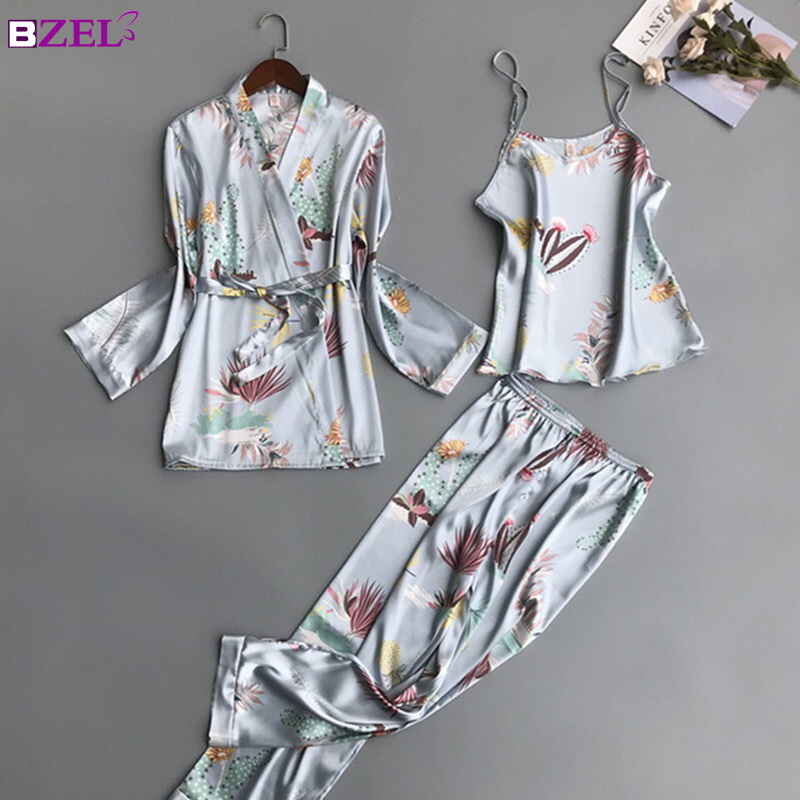 Women   Pajamas     Sets   3 Pieces Fashion Spaghetti Strap Satin Sleepwear Female Flower Print Long Sleeve Pyjama Home Clothing Pijama