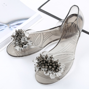 Image 5 - SWYIVY Plastic Jelly Shoes Crystal Flats Shoes 2018 Woman Casual Shoes Summer Beach Sandals Lady Comfortable Shallow Mouth Flats