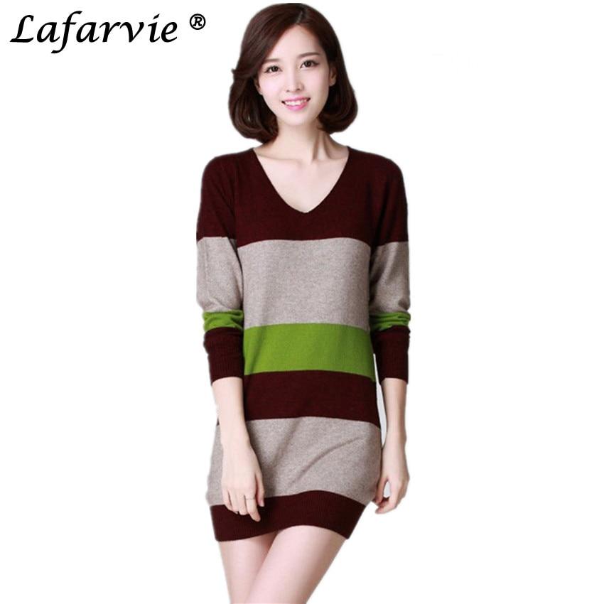 Lafarvie Kualitas Slim Cashmere Blended Rajutan Sweater Wanita - Pakaian Wanita