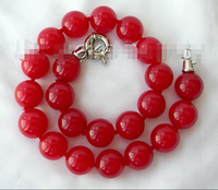 Free shipping >>>>>>stunning big 18mm round red natural stone beads necklace h1017