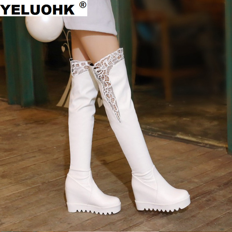 Fashion Lace Over The Knee Boots Women Wedge Shoes Casual Platform 2017 Autumn Winter Women Shoes Winter High Boots Women