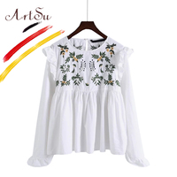 ArtSu Korea Cotton Long Sleeve Ladies Blouses 2017 New Autumn Floral Embroidery Casual Tops Ruffles Shirts