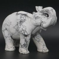 6.3 Elephant Statue Natural Gemstone White Howlite Turquoise Carved Home Decor