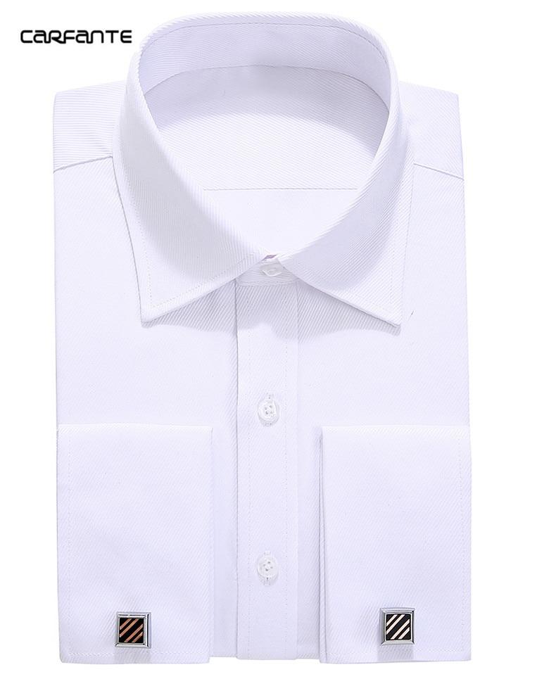 Carfante men 39 s shirt long sleeve solid dress shirts twill for French cut shirt sleeve