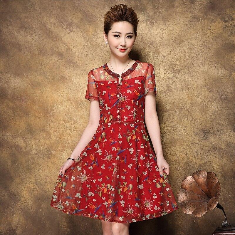2016 Summer Hot font b Women b font Print Chiffon Dress Print Short Sleeve Caual Plus