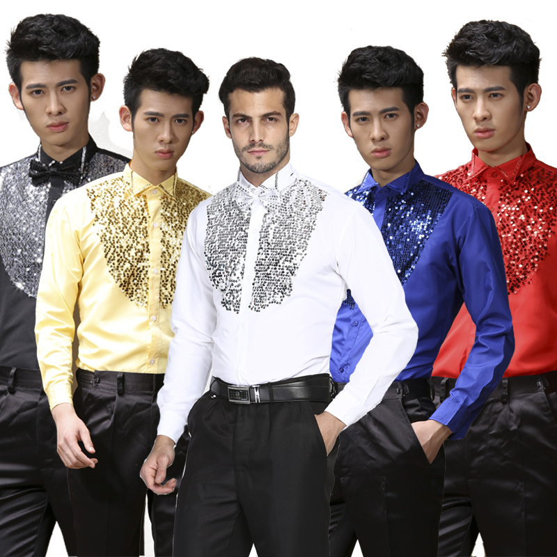 2018 Elegant Latin Dance Tops For Male Black White Blue Cotton Shirt Men Ballroom Competitive Wedding Party Tops Wears N7035