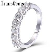 TransGems 0.7 CTW moissanite Lab Grown Diamond Half Eternity Wedding Band Platinum Plated Silver for Women