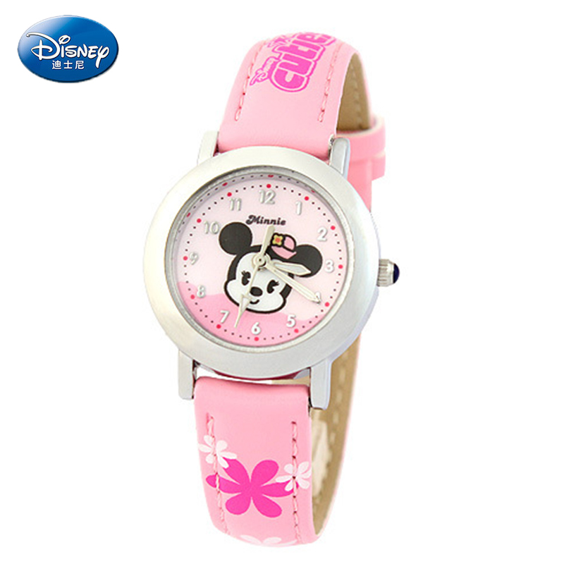 2016 Disney Baby Cute Minnie Mouse Child Watch Girl Table Small Minnie Mouse Cartoon Fashion Lady Wristwatch Quartz Watch Clock