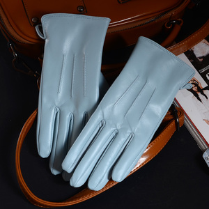 Image 3 - Womens Ladies 100% Real Leather Sheep skin Winter Warm Thick Lining white gloves Colorful Blue Cute Outdoor Short Gloves
