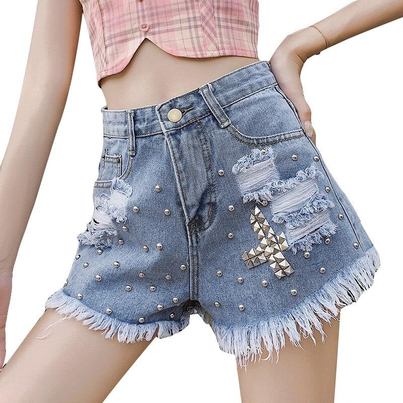 US $14.2  Women'S Tassel Rivet Ripped Loose High Waisted Short Jeans Denim Wide Leg Punk Beaded Hot Denim Shorts Jeans Pants For Women Jeans 