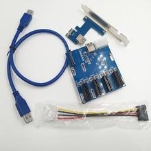 Free Ship PCI E Turn PCIe Riser Cards 1 to 4 PCI E 1X Expansion Cards