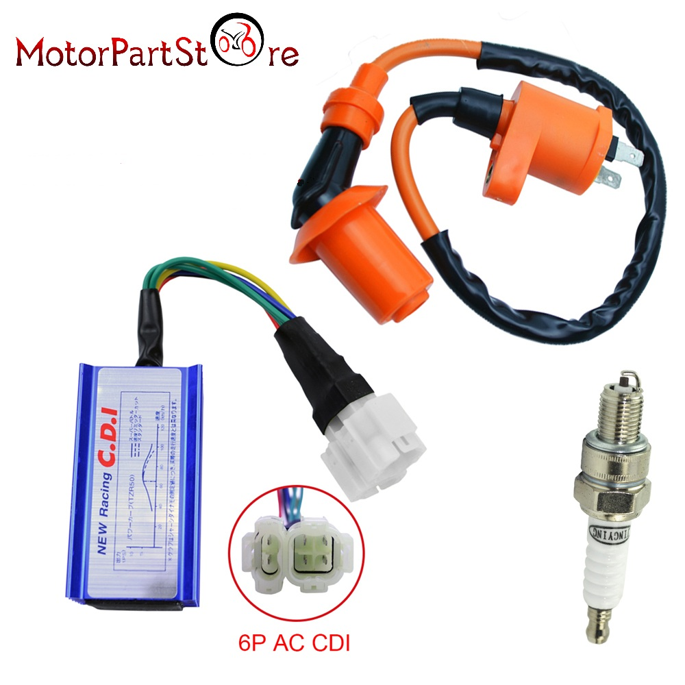 High Quality Performance Racing GY6 Ignition Coil + A7TC Spark Plug + 6 Pin AC CDI For 50cc - 125cc 150cc Scooter Moped ATV 3Pcs