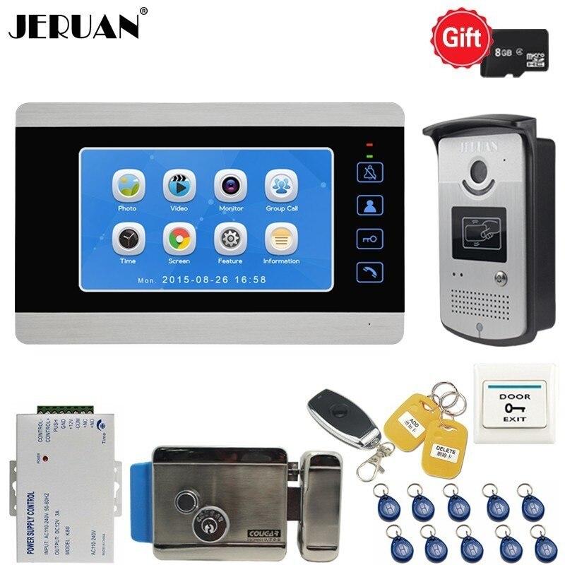JERUAN 7 pouce Vidéo Porte téléphone système sonnette kit Voix/Vidéo Surveillance Fiche 700TVL RFID Étanche Caméra avec serrure interphone