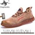 Мужские ботинки со стальным носком из натуральной кожи, дышащие рабочие ботинки из говяжьей кожи, устойчивые к прокалыванию повседневные м...