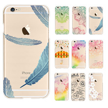 Umbrellas Color Pattern Transparent Soft TPU Phone Case coque For Apple Iphone 6 6s Leaves Back