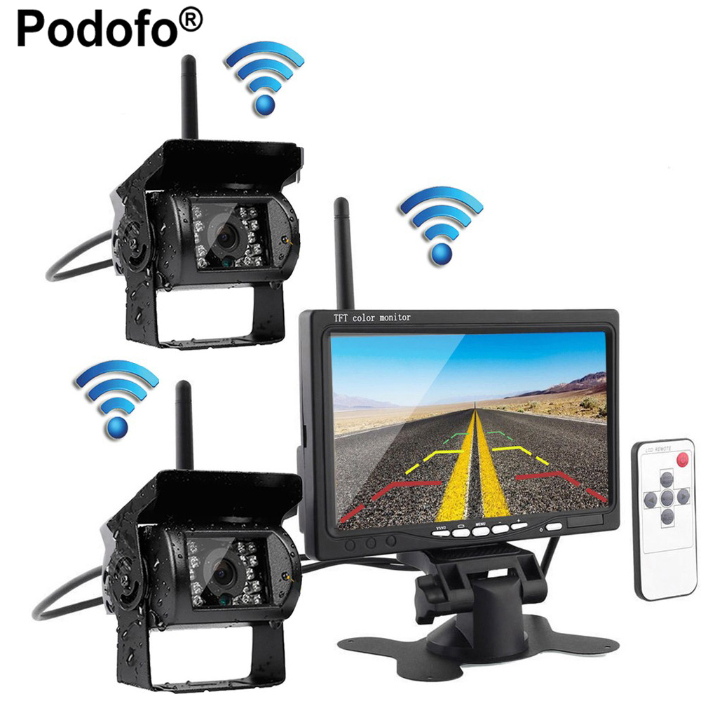 Podofo Wireless Backup Parking System, Dual Rear View Camera Ir Night Vision Waterproof + 7 Monitor for RV Truck Trailer Bus ir led car rear view ip network camera 720p backup reversing parking rearview cam night vision waterproof for truck bus