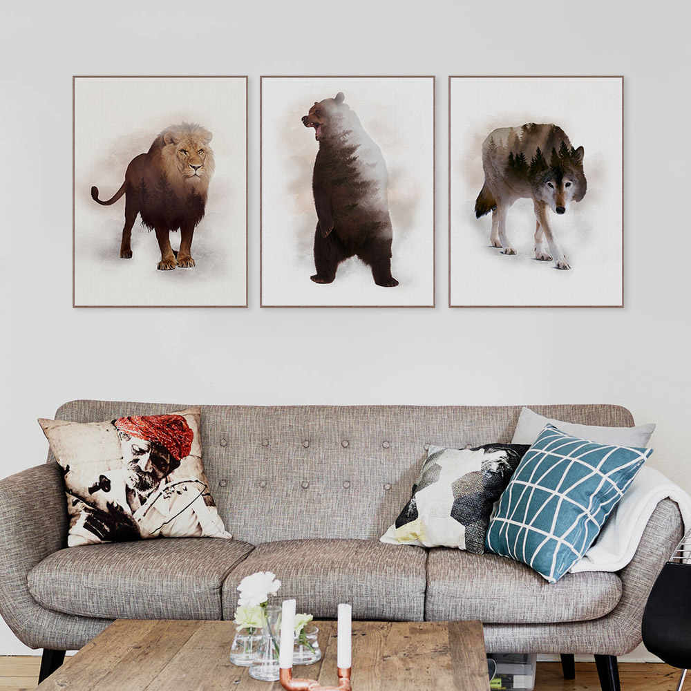 Modern Abstract Original Wild Animal Deer Wolf Mountain Forest Canvas Art Print Poster Wall Picture Home Decor Painting No Frame