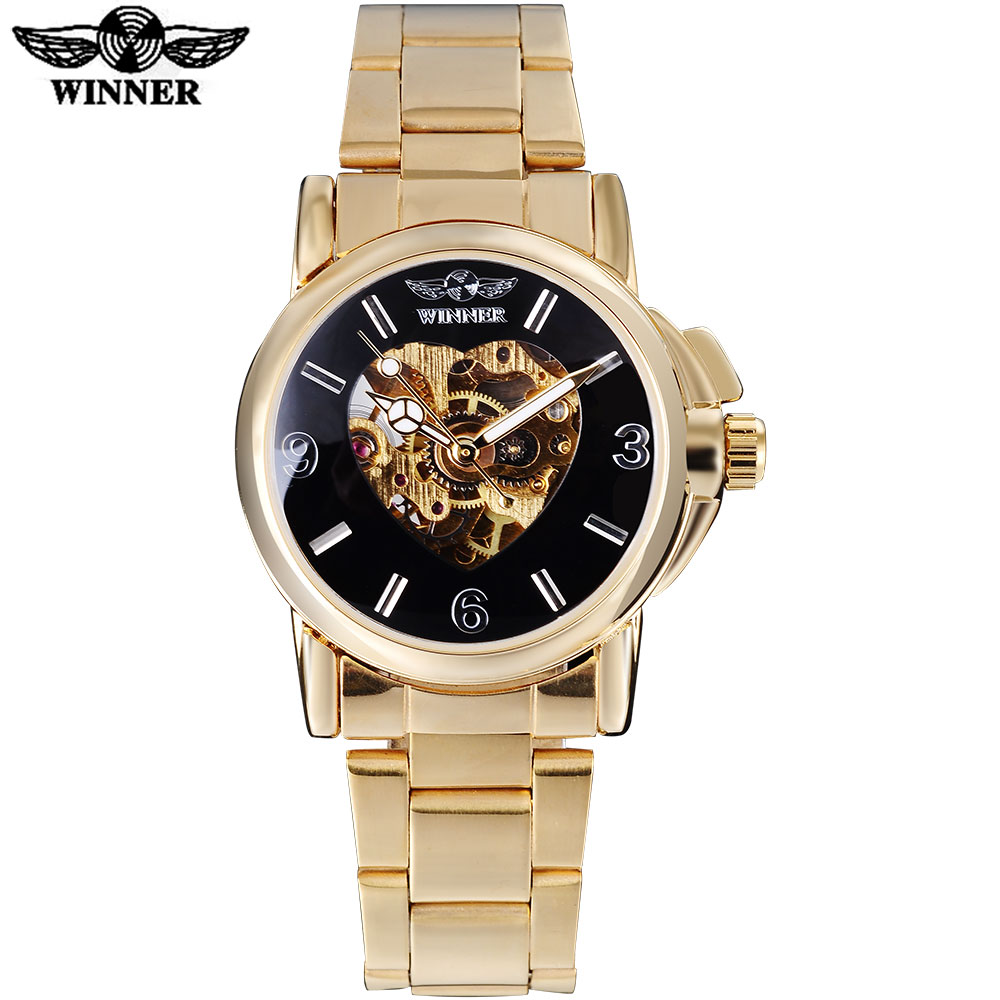 2017 WINNER china brand women watch luxury automatic self wind watch skeleton black dial transparent glass stainless steel band ultra luxury 2 3 5 modes german motor watch winder white color wooden black pu leater inside automatic watch winder