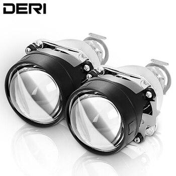 DERI 2,5 pulgadas HID bi-xenon LHD alta luz baja Mini H1 lente del proyector lentes de faro H4 H7 faros de coche de estilo retroajustable
