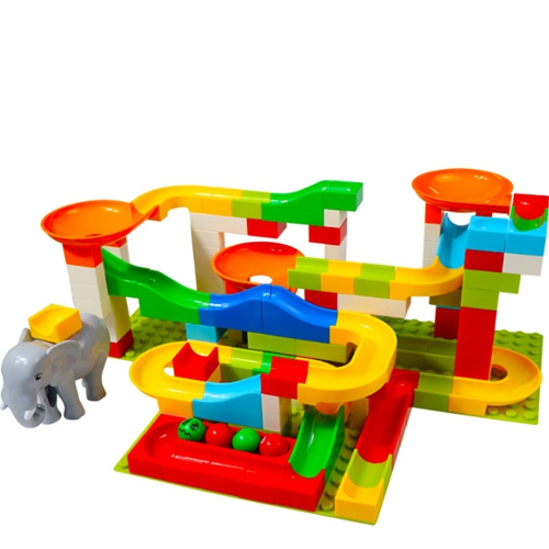 Large particles Maze Ball Track DIY Building Blocks Plastic Funnel Slide Big Size Bricks Compatible With Legoed Duplo Blocks in Blocks from Toys Hobbies