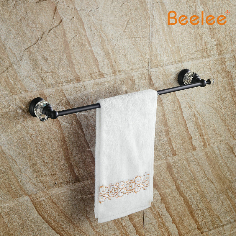 Beelee BA5101B Free shipping Brass Crystal Golden Single Towel Bar,Towel Holder, Towel Rack, Bars Products,Bathroom Accessories free shipping brass & stone golden towel rack gold towel bar towel holder cy008s