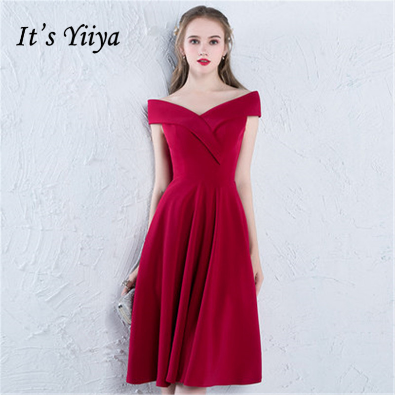 It's YiiYa New Wine Red Cocktail Dress Elegant Boat Neck Knee-length Cocktail Gowns LX376